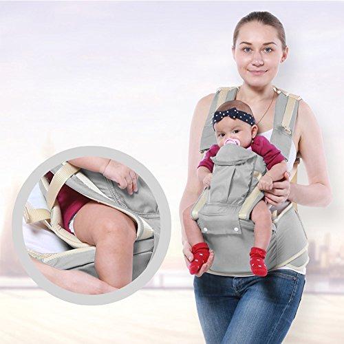 Regolabili 3 posizioni Carrier Neonato Bambino piccolo Vettore Funzionale Trasportare Zaino sede con anca sede e cappuccio per Bambino Ideale Regalo (Grigio)