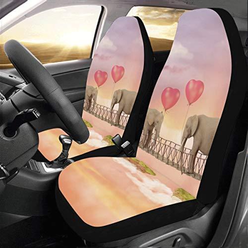 Cubierta de asiento de SUV Un lindo bebé elefante flotante Universal Fit Auto Fundas de asiento de automóvil Protector para auto camión Suv Vehículo Mujer Señora (2 delanteras) Fundas de asiento par
