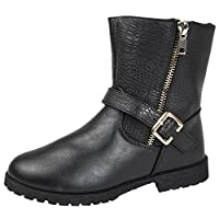 Buckle My Shoe Girls Faux Leather Ankle Boots