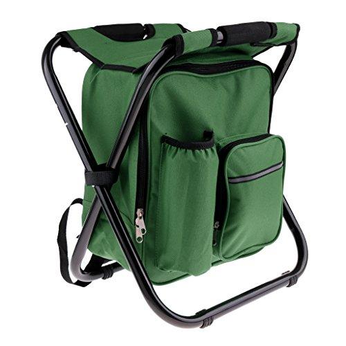 CUTICATE Klapp Camping Angeln Rucksack Stuhl Hocker Mit Kühler Isolierte Picknicktasche Für Outdoor Backpacking Wandern Strand - Grün -
