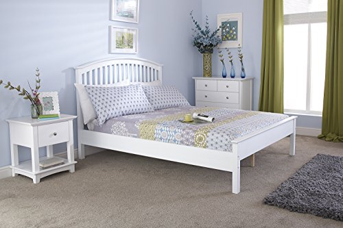 Madrid 5ft King Size LOW FOOT END Wooden Bedstead - Solid White