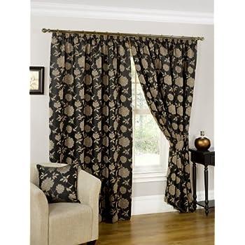 Black Gold Jacquard Lined Curtains X Amazon Co Uk