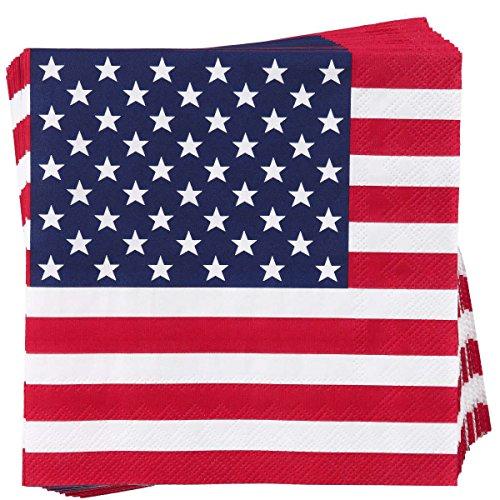 BUTLERS Après Papierservietten 20 Stück - amerikanische Flagge Stars 'n Stripes Design - 33 x 33 cm (Amerikanische Tische)