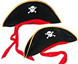 ACMEDE - Capitaine Pirate Costume Chapeau Deguisement Pour Halloween Costumes Cosplay Party (2 Pcs)