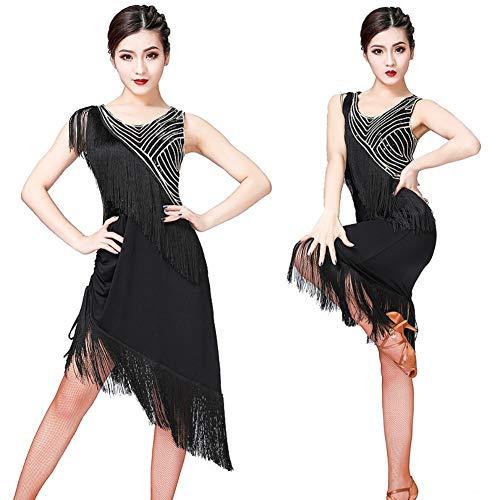 Frauen Latin Dance Kleider Pailletten mit Fransen Ballett Kostüm Kleider