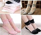 #7: Delhitraderss 5 Pairs Women Transparent Beautiful Crystal Lace Elastic Girls Socks