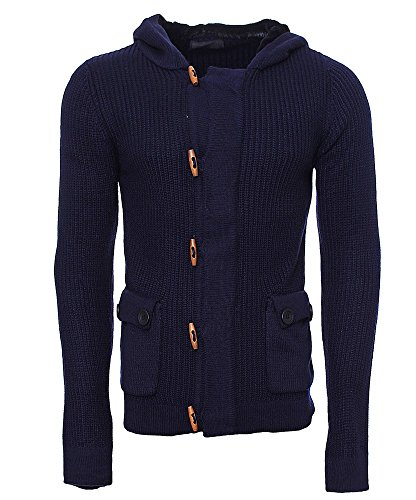 M196 Herren Pullover Pulli Sweatshirt Grobstrick Strickjacke Strick Sweatjacke Dunkelblau