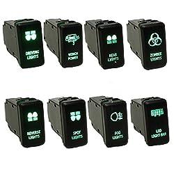 mark8shop 12V grün LED OEM Ersatz-Push Schalter für Toyota Landcruiser HILUX Prado