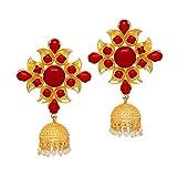 Jaipur Mart New Splendid Design Flower Shape Gold Plated Red color Stone Studded Jhumka Earring for College Girl's