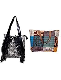 Indiweaves Combo Pack Of 1 Silk Kantha Beach Bags Bag And 1 Cotton Shopper Bag (Pack Of 2) 82100-133275-IW-P2
