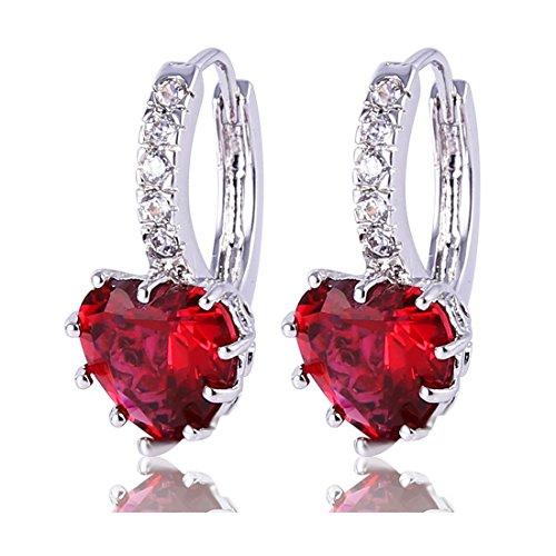 Gulicx Boucles d'oreilles Créole Argent Fin 925 Avec Cristal de Coeur en Swarovski Elements Pour Femme Rouge