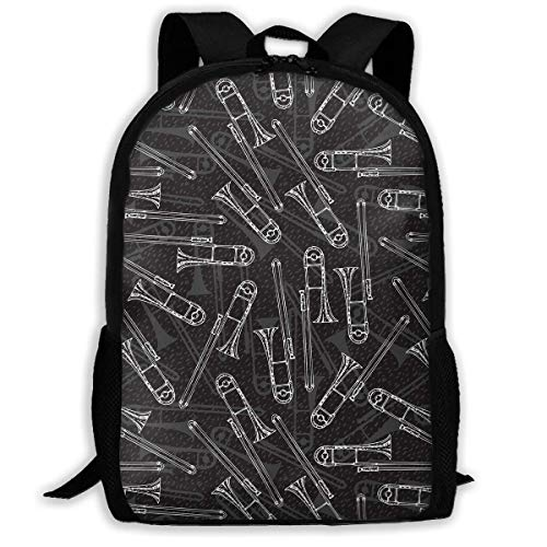 Schwarz weiß posaunen Vintage Stil Rucksack Kinder cool Schultasche Muster mädchen Jungen Tag Pack
