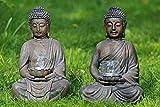 Buddha mit Windlicht aus Magnesia in braun Höhe 41 cm (links (hohe Schale))