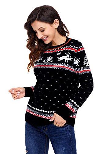 Maglione di Natale maglia maglione maglia inverno per le donne Black