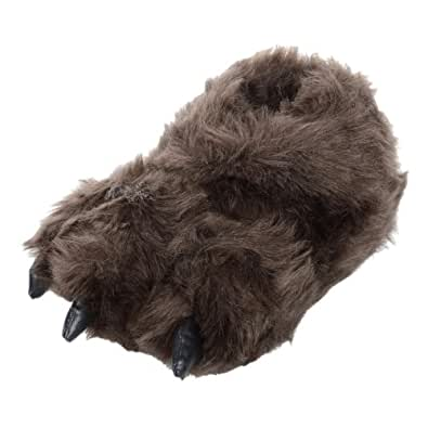 Childrens Padded Faux Fur Bear Feet Slippers With Non-Slip Fabric Sole UK Kids 9