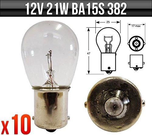10 x LAMPADA LAMPADINA AUTO BA15S (R382) P21 12V 21W (1 FILAMENTI) - DRL - STOP - FRECCE POSTERIORE - RETROMARCIA - RETRONEBBIA - FRECCE ANTERIORE + 1 adesivo da pc 'Ricambi Auto Europa' GRATIS
