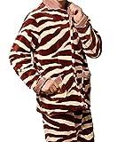 Pyjama Hommes Set Hiver Corail Chaud Polaire Service à Domicile à Manches Longues Revers Costume Deux Pièces,Red-L