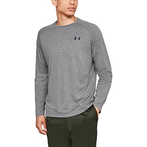 Under Armour Men's Tech Long sleeve Shirts, Charcoal Light Heath (019)/Black, Large -