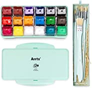 MIYA Gouache Paint Set, 18 Colors x 30ml Unique Jelly Cup Design, Portable Case with Palette for Artists, Stud