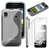 ebestStar - Coque Samsung Galaxy Ace S5839i, S5830, S5830i [Dimensions PRECISES de votre appareil : 112.4 x 59.9 x 11.5 mm, écran 3.5''] - Housse Etui Coque Silicone Gel Motif S-line Souple + Stylet tactile + 3 Films protection écran, Couleur Transparent