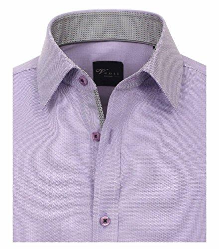 Venti Slim Fit Hemd Langarm mit Blauen Besätzen Struktur Weiß Lila - uni nah (900)