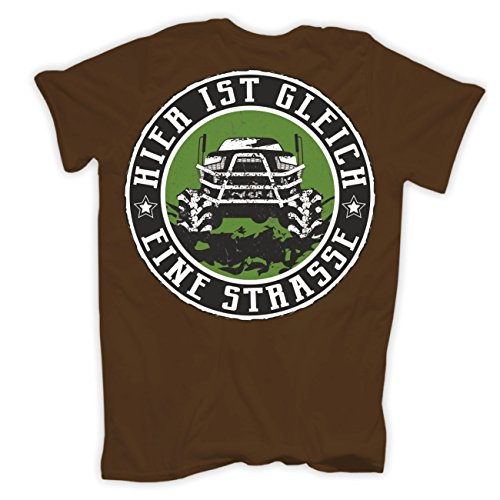 Männer und Herren T-Shirt 4x4 Offroad (mit Rückendruck) Braun