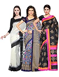 Oomph! Women's Raw Silk Printed Sarees Combo - Multi_combo3_whitekeri6516