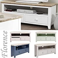 Florence corner TV unit with 2 drawers, shelf and cabel access. Quality FULLY ASSEMBLED corner TV cabinet. 5 colours available