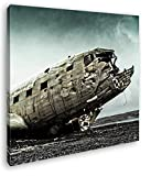 deyoli altes Flugzeugwrack Format: 70x70 Effekt: Zeichnung als Leinwandbild, Motiv fertig gerahmt auf Echtholzrahmen, Hochwertiger Digitaldruck mit Rahmen, Kein Poster oder Plakat