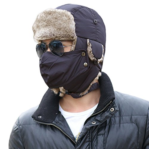 Price comparison product image SIGGI Winter Navy Ushanka Russian Trapper Bomber Hat for Men Fur Lined Windproof Mask