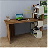 DELUXE Bureau White / Walnut - Computer Workstation - Home Office Desk - Writing Table with shelf unit in modern Design …