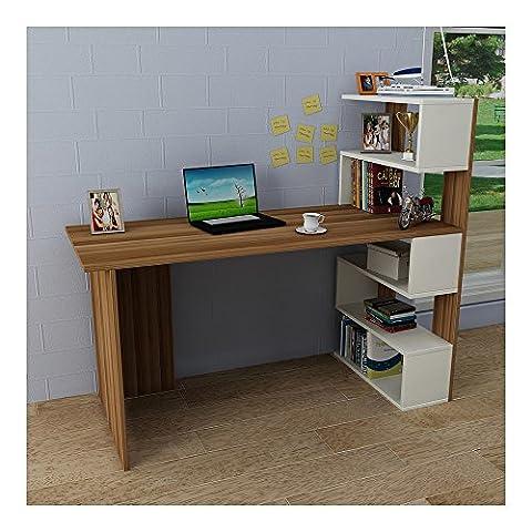 DELUXE Bureau White / Walnut - Computer Workstation - Home Office Desk - Writing Table (Ufficio Noce Scrivania)