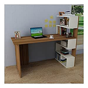 deluxe schreibtisch nussbaum wei computertisch workstation f r home office in modernem. Black Bedroom Furniture Sets. Home Design Ideas