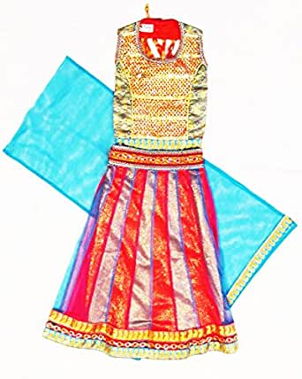 TheTickleToe Kids Girls Baby Designer Party Festive Ethnic Wear 3 Piece Lehenga Halter Choli Set Blue Pink 4-5 Years