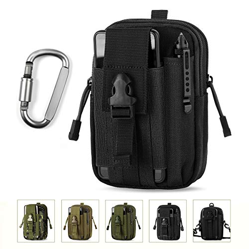 Unigear Taktische Hüfttaschen Molle Tasche Gürteltasche MOLLE Beutel Militär Ideal für Outdoorsport Multifunktionen Praktische Ausrüstung mit Extrafreiem Aluminiumkarabiner (Schwarz 1) -