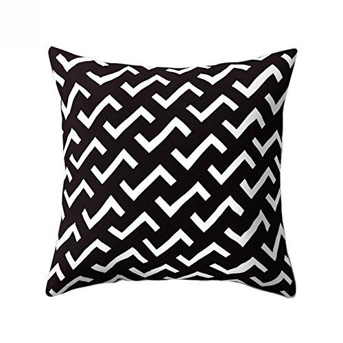 Jiacheng29 Schwarz und Weiß mit Kissen Throw Kissenbezug Fall Home Sofa Auto Dekor, 10#, Einheitsgröße - Schwarz-throw-kissen