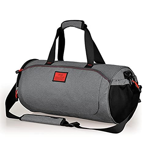 Cool NEW! MadMixi Duffel Style Carry On Sports Travel Bag/Gym Bag with Shoulder Strap, Zippered Compartments (Stonehenge Gray,