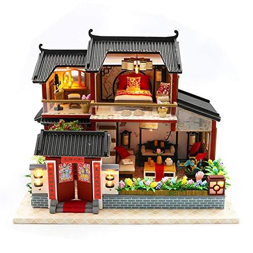 Haus Modell, Puzzle Gebäude Montage Haus Kit 3D-Modell Holzspielzeug, chinesischen Stil Siheyuan Handmade Craft mit Möbeln und LED ()