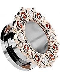 Piercingfaktor® Flesh Tunnel Plug Ohr Piercing Vintage Tribal Motiv mit vielen Kristallen am Rand Roségold IP