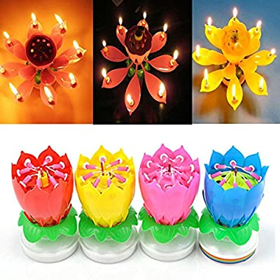 SYF 4 Pack Romantic Happy Birthday Music Play Lotus Candle Magic Musical Candle Flower Special For Birthday (4 color) from Sayofo