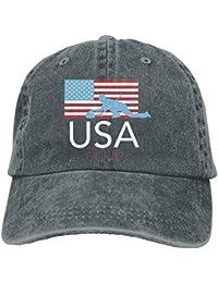 SunRuMo Vintage Adult Sport Baseball Cap Curling American Flag Adjustable Denim Cowboy Hat For Men Women