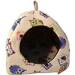 Casa iglú para gato con diseño de búhos