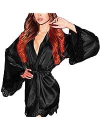 Vestido De Seda De Las Largo De Señoras Especial Estilo Vestido Lencería Kimono Toga De Encaje