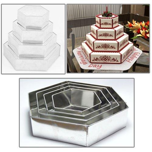 "Euro Tins 4moldes de tarta de cumpleaños aniversario de boda latas hexagonal/sartenes 6""8"" 10""12"""