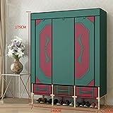 LIUXRONG Tuchgarderobe, Wandschrank-Organisator, Tragbare Garderobe Kleiderkammer-Lagerung organisieren - 25mm Stahlrohrverstärkung - umweltfreundliches nichtgewebtes - mit Fach,B_140cm*50cm*175cm