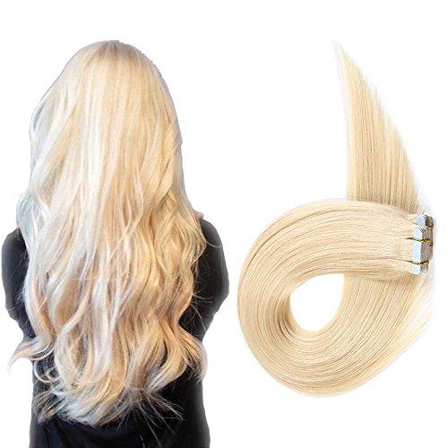 Echthaar Tape in Extensions Haarverdichtung Haarverlängerung glatt 20 Tressen x 4 cm...