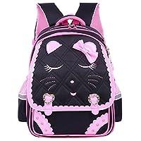 Adanina Cute Bowknot Cat Face Pattern Backpack Diamond Bling Elementary School Backpack Bowknot Primary Bookbag for Girls