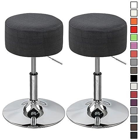 WOLTU BH62sz-2-c 2 x Bar Stool Chrome Swivel Stool Height Adjustable Fabric Barstool for Breakfast Bar with Padded Seat,