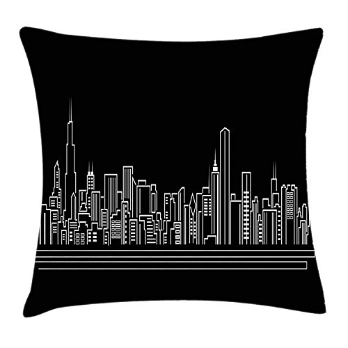 Chicago Skyline Throw Pillow Cushion Cover, Line Abstract Style Urban Silhouette of Popular American Town Office Print, Decorative Square Accent Pillow Case, 18 X 18 inches, Onyx White (Halloween Town Silhouette)