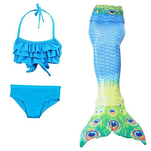 Seemann Kind Kostüme Blau (Le SSara Mädchen Meerjungfrau Cosplay Kostüm Bademode Meerjungfrau Shell Badeanzug Sets (130, A blau+pfau)